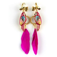 Emi Jewellery Parrot Earrings ($22) ❤ liked on Polyvore featuring jewelry, earrings, pink, gold plated earrings, pink drop earrings, pink earrings, feather earrings and gold plated jewelry