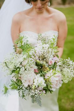 Bride's Lush Oversized Bouquet: Pastel Blush Peonies, Pastel Pink English Garden Roses, White Stock, White Veronica, White Queen Anne's Lace, Scabiosa Pods, Dusty Miller, Greenery >>>>