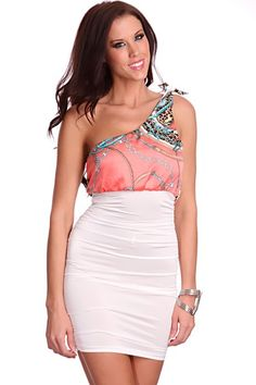 This attention grabber dress is a must. Youll be running the run show. Its definitely a must have. Featuring printed design, one shoulder adjustable strap, ruched sides, and tight fitted. Model is wearing a small. 92% Polyester 8% Spandex.