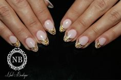simple nails, super manicure gold french