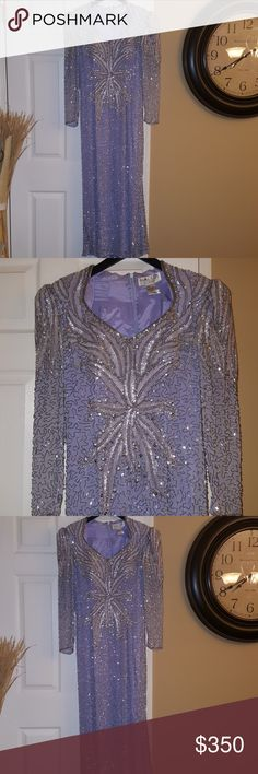 Stunning! Absolute show stopper. Amazing lavender long dress adorned with silver and lavender sequins.  Lovely. Size 10. Only worn once. A few sequins are missing in spots though not even noticeable when wearing. So pretty. Make an offer. Black Tie, Oleg Cassini Dresses
