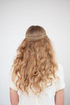 Wedding Headpiece Gold tone headchain drape, Crystal hair accessory, Bohemian Bridal Headpiece | Etsy