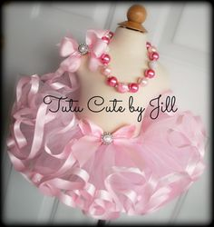 Deluxe Tutu Set Includes Sewn Light Pink Ribbon Trim Tutu, Boutique Hairbow and Chunky Bubblegum Necklace. Birthday Tutu, Pageant Tutu