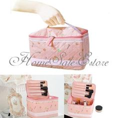 Pink Cherry Bow Make Up Comestic Organizer Storage Bag Travel Accessory Case