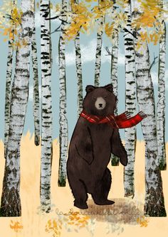 Into the woods ~ fall season ~ digital bear illustration www.ladouceurdumiel.com