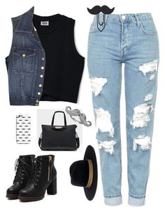 """""""Untitled #262"""" by maria143sara ❤ liked on Polyvore featuring Hunter, Blu Bijoux, Janessa Leone, Topshop and Current/Elliott"""