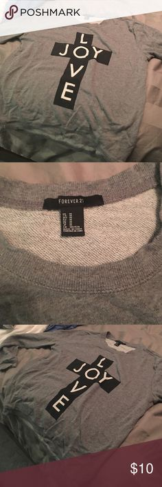 love and joy sweater grey with black cross and love and joy in white letters Forever 21 Sweaters Crew & Scoop Necks
