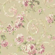 Rococco Floral Wallpaper in Pink and Pewter design by York Wallcoverings