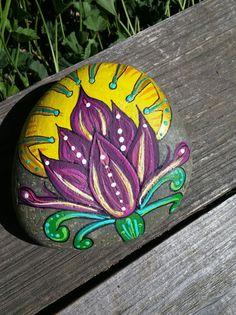 Rock Art LOTUS Flower Hand Painted Beach by LotusandNightshade