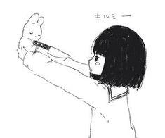 manga, violence, and cute image Manga Girl, Sad Anime Girl, Anime Art Girl, Aesthetic Anime, Aesthetic Art, Anime Triste, Black And White Aesthetic, Dibujos Cute, Sad Art