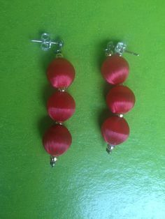 Vintage 1960s red gold earrings costume Mad Men Bauble drop dangle 60s kitsch post