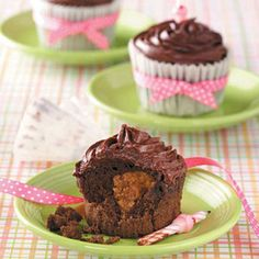 Peanut Butter Chocolate Cupcakes Recipe from Taste of Home -- shared by Julie Small of Claremont, New Hampshire