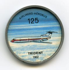 Jell-O Coin 125 - Trident (1962) - Projected as a successor to the popular Viscount turboprop airliner is the all-jet, tri-motored de Havilland DH-121 Trident. Even before the first prototype had taken to the air, British European Airways had ordered 24, with options on 12 more. The Trident's most unusual feature is the positioning of its engines — one inside the rear fuselage, two in pods on either side. Specifications: Wingspan 90 feet. Length 114 feet, 9 inches. Weight 105,000 pounds.