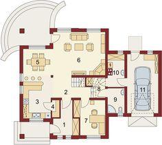Projekt domu Damokles 140,59 m² - koszt budowy - EXTRADOM Modern House Design, Floor Plans, Case, Garden, Garten, Lawn And Garden, Gardens, Modern Home Design, Gardening