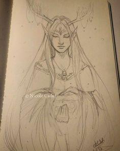 Elf shaman. Sketching while waiting for an appointment. #artistsoninstagram #pencildrawing #sketching #shaman #elf #australianartist #fantasyart #sketch