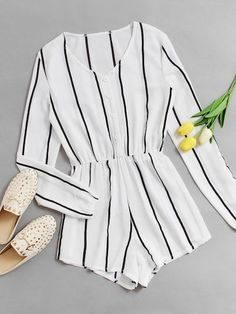 Shop Vertical Striped Button Front Romper at ROMWE, discover more fashion styles online. Summer Outfits, Casual Outfits, Cute Outfits, Fashion Outfits, Womens Fashion, Mode Chic, Mode Style, Jw Mode, Mode Rockabilly