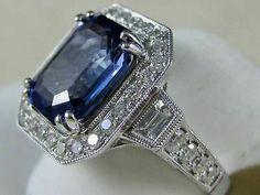 Estate 5 90ctw Diamond Emerald Cut Sapphire 14kt w Gold Cocktail Ring 2 335048   eBay