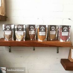 A beautiful display of Bircher Bar products at @bedouinbrew!  @Regrann from @bedouinbrew -  We are very excited to have these amazing latte mixes in store both to purchase for home and in store as a cuppaImagine a spiced cup of goodness that warms your soul // these are dead set beautiful . . . #thebircherbar #glutenfree #soyfree #caffeinefree #vegan #paleo #matchapowder #spicedbeetroot #goldenlatte #spicedcacao #brisbanecoffee #rocklea #bedouinbrew #coffeeshop #industrialstyle