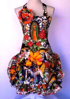 Womens Apron Dios Los Muertos  Sugar Skull Day by OliviabyDesign