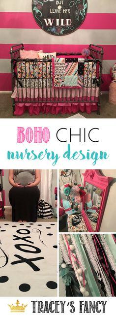 Boho Chic Nursery design by Tracey's Fancy | Nursery Decor + Nursery Decorating Ideas + Girls Nursery + Bohemian Decor + Children's Rooms + Kids Room Decor