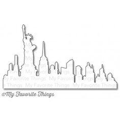 MFT Die-namics New York Skyline London Skyline, New York Skyline, String Art Templates, Mft Stamps, Simon Says Stamp, Card Maker, Silhouette Design, Clear Stamps, New York City
