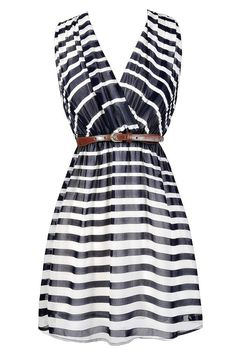 Lucky Stripe Belted Dress in Navy  www.lilyboutique.com