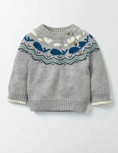 """Whales Knitted Sweater Boden """"Whales Knitted Sweater 71590 Knitted Sweaters at Boden"""", """"Your little bundle just got even more joyful with our supersoft Baby Knitting Patterns, Baby Sweater Knitting Pattern, Baby Boy Knitting, Knit Baby Sweaters, Boys Sweaters, Knitting For Kids, Baby Boy Sweater, Knitting Wool, Icelandic Sweaters"""