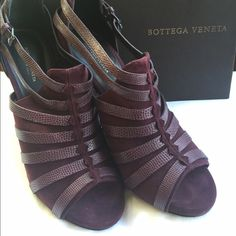 Bottega Veneta Grape Suede Sandal Bootie 39 NWT New in box! Never worn. Bottega Veneta suede sandal bootees with lizard strap detail. Open toe. 4.5 wrapped leather snake heel with a hidden platform of 5/8 inch. Will come in original box. Size 39. Made in Italy. Bottega Veneta Shoes Heels