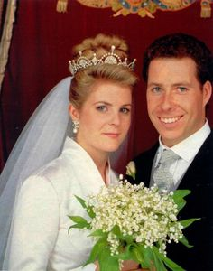 royalhatsblog:  Wedding of David, Viscount Linley and Serena Stanhope, October 8, 1993