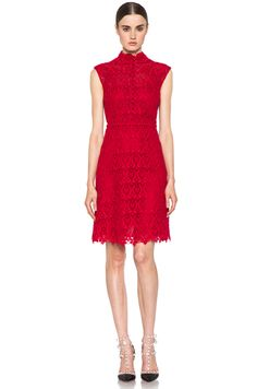Valentino Macrame Ornamentale Sleeveless Button Dress in Rouge I luv both dress and shoes!