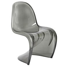 Curve one piece chair smoke   £109   A chair that features a classic 60's futurist design. Made of one curved piece of plastic which almost flows, these chairs add a statement to any dining area. They can also be stacked for easy storage.