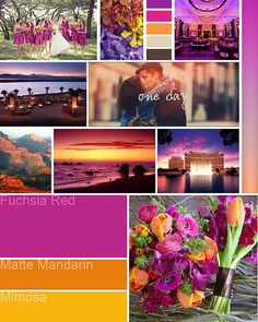 Wedding color palette board inspired by California Sunset I made for Lindy & Eric.
