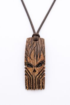 """Coconut shell Pendant """"The Mask"""" gift for him african pendant wood carving mask pendant brown pendant orange pendant hand carved art pe - $48.00 USD"""