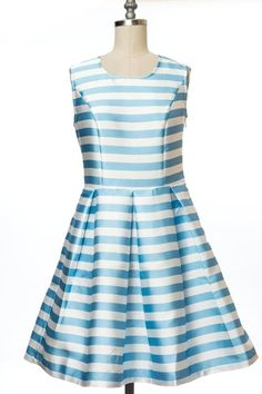 *** New Style ***STRIPED SLEEVELESS A-LINE PLEATED DRESS