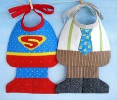 Sewing - Patterns for Children & Babies - Bib & Booties Patterns - Super Baby & Little Man Bibs Quilt Baby, Sewing For Kids, Baby Sewing, Sewing Men, Diy Bebe, Bib Pattern, Baby Crafts, Little Man, Burp Cloths