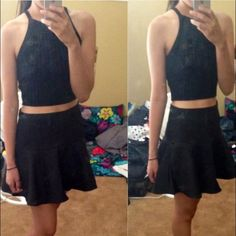 ⚫️Cute Black Skirt ⚫️ High wasted black skirt super cute! Can dress up or down ❌no trades❌ Bundle and save! Forever 21 Skirts Mini