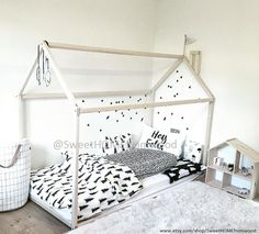 Children bed house is an amazing wood house bed frame for sleep and play. Adorable tent bed will make transitioning from a cot to a toddler bed smoothly. Montessori bed is designed following Montessori educational toy principles of independence – building, it saves you a lot of space in baby's room and you do not have to fear that your baby might roll out of the bed. It will be best gift for your child and original bed.  MATERIAL: Wooden house bed is made from pine or birch wood (choose…