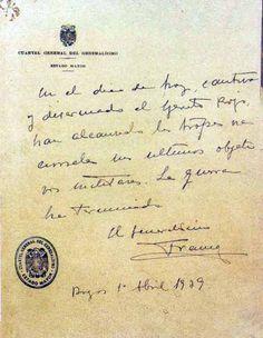 Manuscrito del final de la guerra. F. Franco