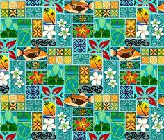 Hawaiian block pattern 001 fabric by madtropic on Spoonflower - custom fabric