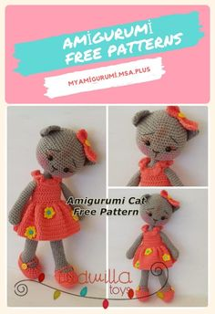 In this article we will share the amigurumi cat free crochet pattern. Amigurumi related to everything you can not find and share with you. Easy Crochet, Crochet Toys, Free Crochet, Half Double Crochet, Single Crochet, Cat Pattern, Free Pattern, Female Cat, Slip Stitch