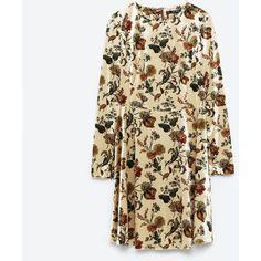 PRINTED VELVET DRESS - DRESSES-WOMAN   ZARA United Kingdom ($38) ❤ liked on Polyvore featuring dresses and velvet dress