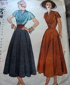 Simplicity 2488 Dress 1948 Sz16/34/28/37 c/c  9.66+1.99 2bds 6/20/14