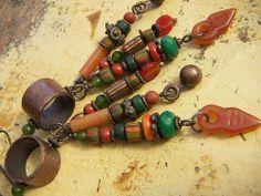 Earthone tassel earrings