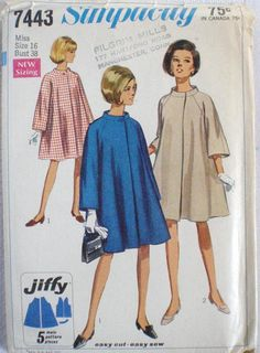 Simplicity 7443 Jiffy Sewing Pattern  Lined Tent Coat  Size