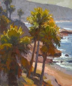 Laguna Palms by Jim Wodark Oil ~ 24 x 20 Paintings I Love, Seascape Paintings, Landscape Paintings, Tree Paintings, Landscapes, Beach Paintings, American Impressionism, California Art, Tropical Art