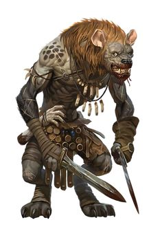 Male Gnoll Rogue or Ranger or Slayer - Pathfinder PFRPG DND D&D 3.5 5th ed d20 fantasy