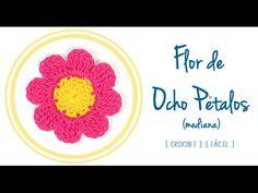 #Flor de Ocho Pétalos a #Crochet (mediana) | #PatronesValhalla