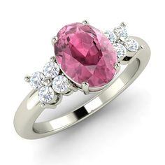 Certified Pink Tourmaline & Real Diamond Engagement Ring 14k White Gold- 1.19 Ct | eBay