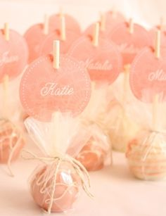 Cake pop favors; could use as part of place settings