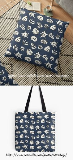 Bring the beach and summer to you no matter what the season with this shell pattern shown here as a floor pillow and tote bag. Light blue and red versions also available. Design also on tshirts, throw pillows/ cushions, notebooks, and more making it a great gift idea for any occasion. Learn more here (Scroll down and click 'Available Products' to see other products): https://www.redbubble.com/people/raionkeiji/works/28286749-shells?c=773346-summer&p=tote-bag
